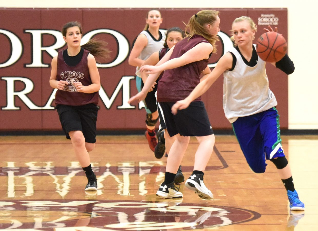 Soroco's Morgan George cuts up the court with the ball Wednesday as the Rams worked through a practice. Soroco is facing a tough upcoming schedule that includes three games against rival programs in the next six days.