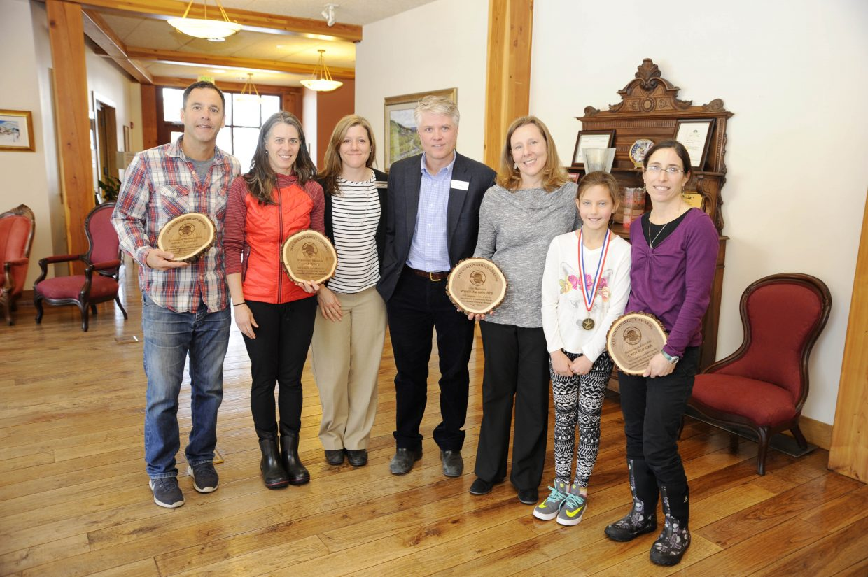 The Yampa Valley Sustainability Council on Wednesday gave out their annual awards to individuals and Steamboat Resorts. Pictured are, from left, Kenny Reisman, Anna White, Liz Hammer, Todd Siefken, Carrie Henderson, Samantha Rockford and Cindy Ruzicka.