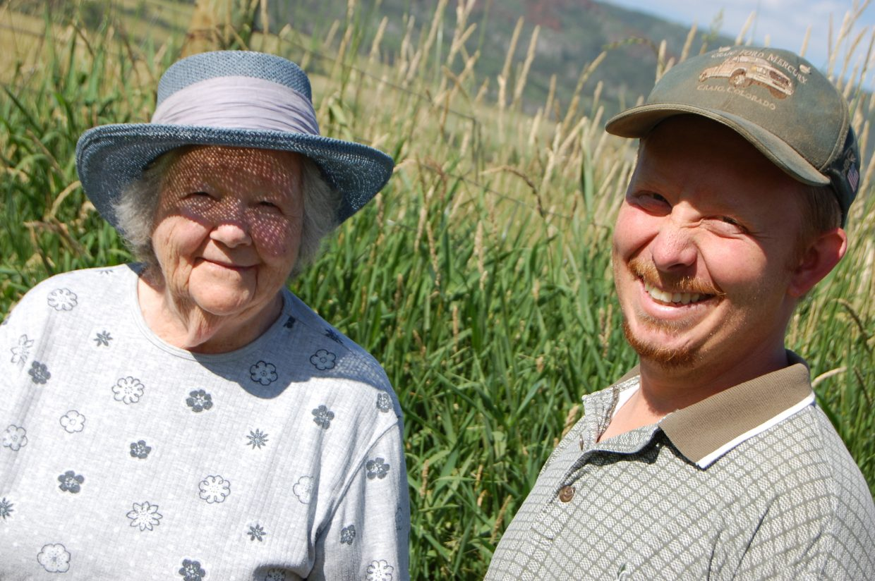 Elaine Gay with her grandson, Todd Hagenbuch, on Green Creek Ranch in 2008.