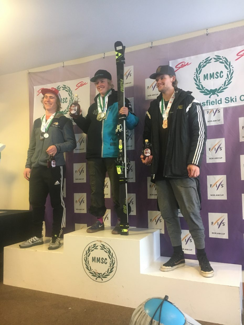 Jett Seymour stands atop the podium after winning a NorAm slalom race in Vermont on Wednesday. It was the first NorAm win of Seymour's career.