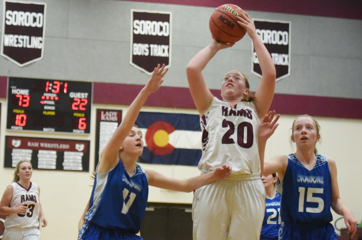 Soroco's Hannah Hayes puts up a shot Friday as the Rams ran over De Beque.