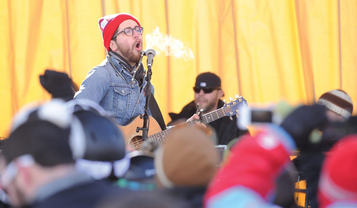 Marco Gutierrez, of the Dirty River Boys, entertains a large crowd Tuesday at the base of Steamboat Ski Area as part of a free concert associated with MusicFest. The final free concert of the program will take place at 1 p.m. on Thursday along with the Matt Hillyer Band.