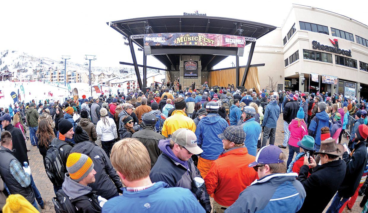 A large crowd gathered at the base of Steamboat Ski Area on a Tuesday afternoon during MusicFest 2017.