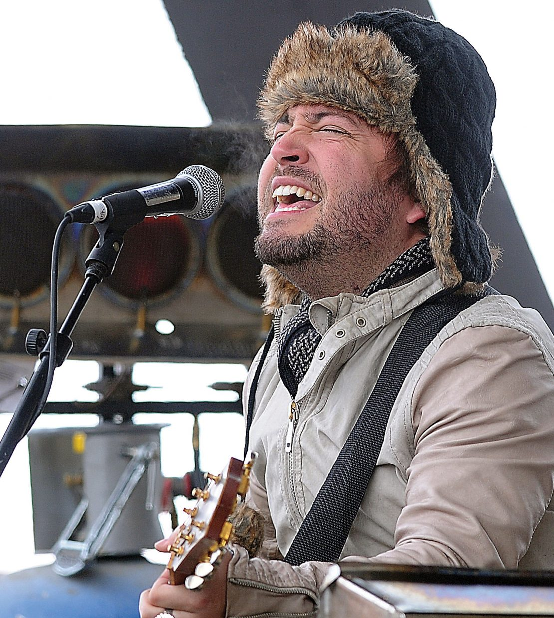 Nino Cooper, of the Dirty River Boys, entertains the crowd Tuesday at the base of Steamboat Ski Area as part of a free concert associated with MusicFest.