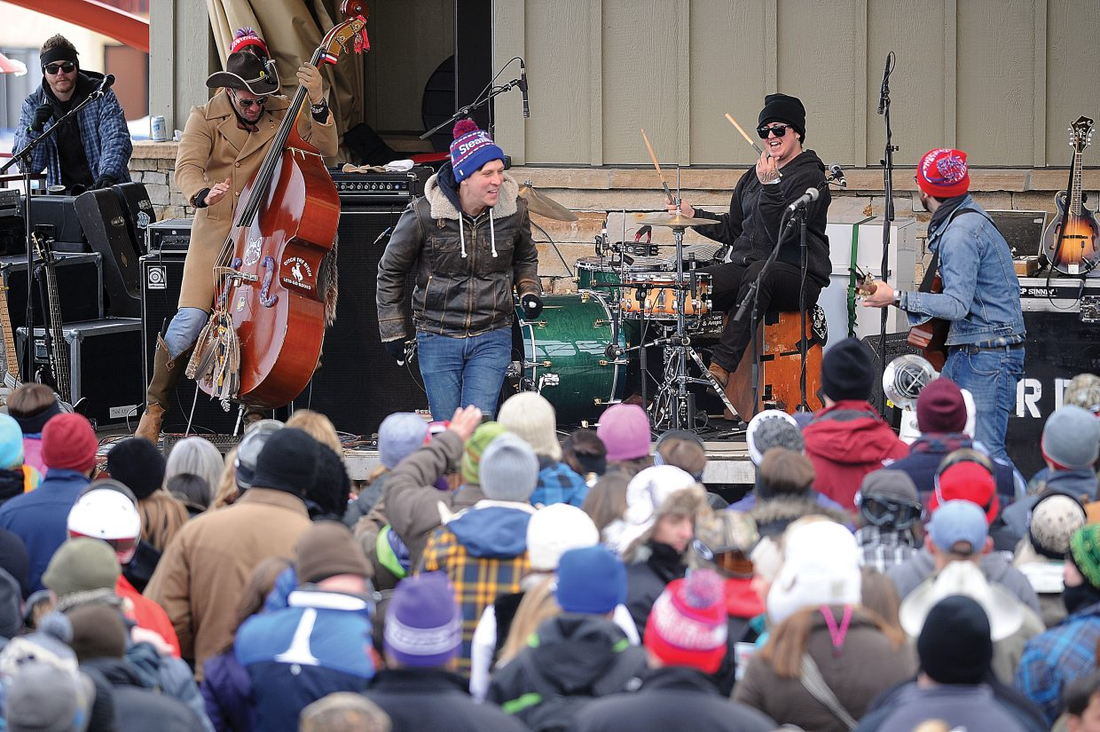 A large crowd gathers at the base of Steamboat Ski Area on Tuesday afternoon to listen to the Dirty River Boys play as part of MusicFest. The free outdoor concerts will wrap up Wednesday with Kyle Park and Turnpike Troubadours taking the stage at 1 p.m.