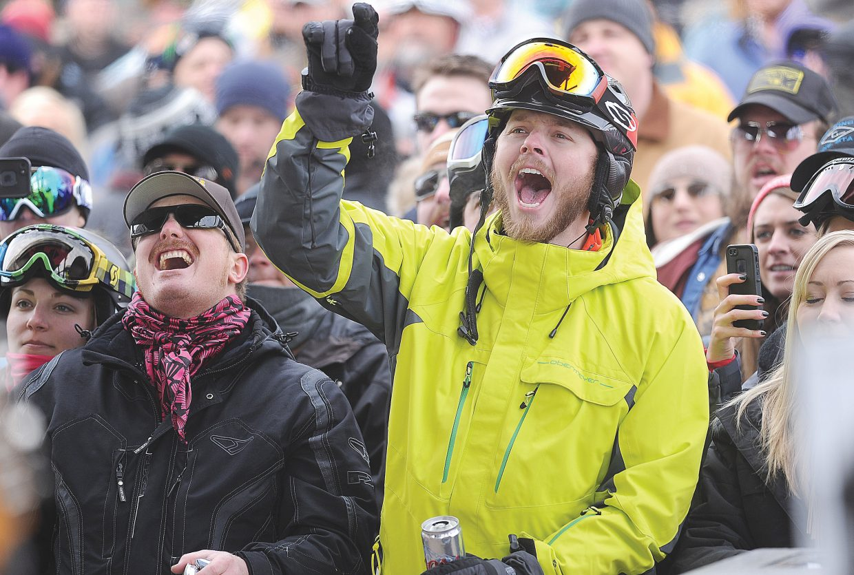 Travis Hillman, right, and Wade Lacount, on Tuesday sing along with The Dirty River Boys during a free concert at the base of Steamboat Ski Area. The free concert was part of MusicFest 2014. The free outdoor concerts will wrap up Wednesday when Kyle Park and Turnpike Troubadours take the stage at 1 p.m.