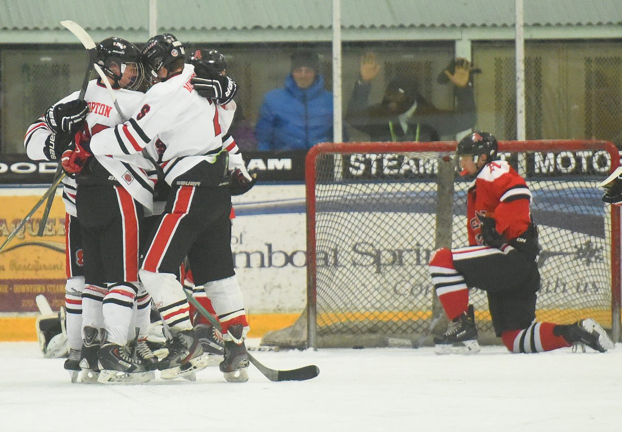Steamboat celebrates a third-period go-ahead goal Saturday against Aspen. The Sailors were outshot by more than two-to-one, but came away winners, 3-2.