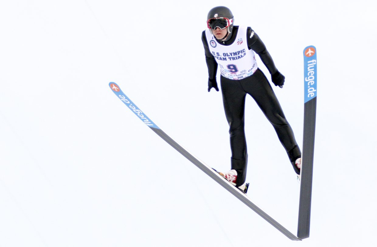 Bill Demong jumps in the U.S. Olympic Trials event in Park City, Utah, last month. Jumping has been one thing that's held the U.S. team back in the early World Cup events, though team members are confident they're getting things in order for a strong push to the looming Olympics.