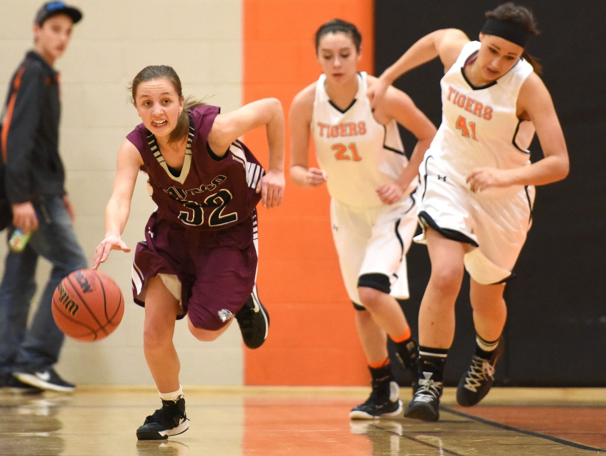 Soroco sophomore Charlee Veilleux charges down the court with the ball Friday. The Rams took care of Hayden, 72-26, to improve to 6-1 on the season.