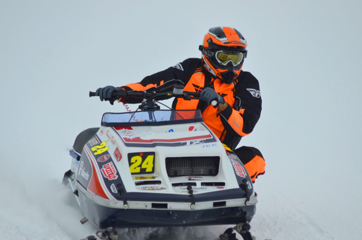 X-Treme Mountain Racing and and Antique & Vintage Snowmobile Club of Colorado hosted Vintage & Classic Oval Snowmobile Racing Saturday at Hayden Speedway, bringing in 22 individual snowmobilers and 39 total racers across 13 classes, including stock, super stock, modified, outlaw/open-mod, women-only and master's for ages 50 and older. In order to classify, sleds needed to be a model year of 1985 or older with a leaf spring for vintage, 1996 or older with an independent front suspension for classic. Businesses including Case Enterprise, Wagner Equipment and Marabou were among the sponsors. Racers from around Northwest Colorado and out-of-state attended the event, which will run again Jan. 21 at the Speedway as part of a circuit that includes races in Grand Lake; Pinedale, Wyoming, and Alpine, Wyoming. Tony Cook, of Richfield, Utah, nears the finish line during Saturday's race.