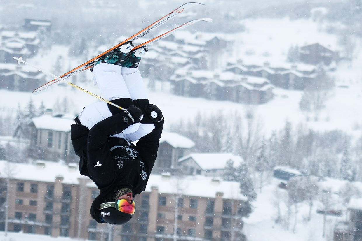 Steamboat Springs' Avital Shimko flips through her back tuck off the bottom air on VooDoo Run on Sunday at Steamboat Ski Area. Shimko won both Saturday and Sunday's moguls competitions.