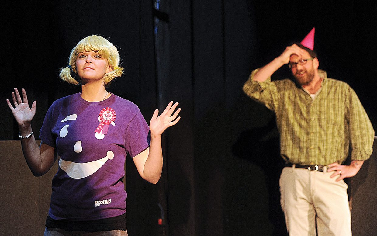 Jessica Miller and Scott Parker rehearse a scene from Shel Shocked, which will be presented by the Chief Players starting at 8 p.m. Friday at the Chief Theater.