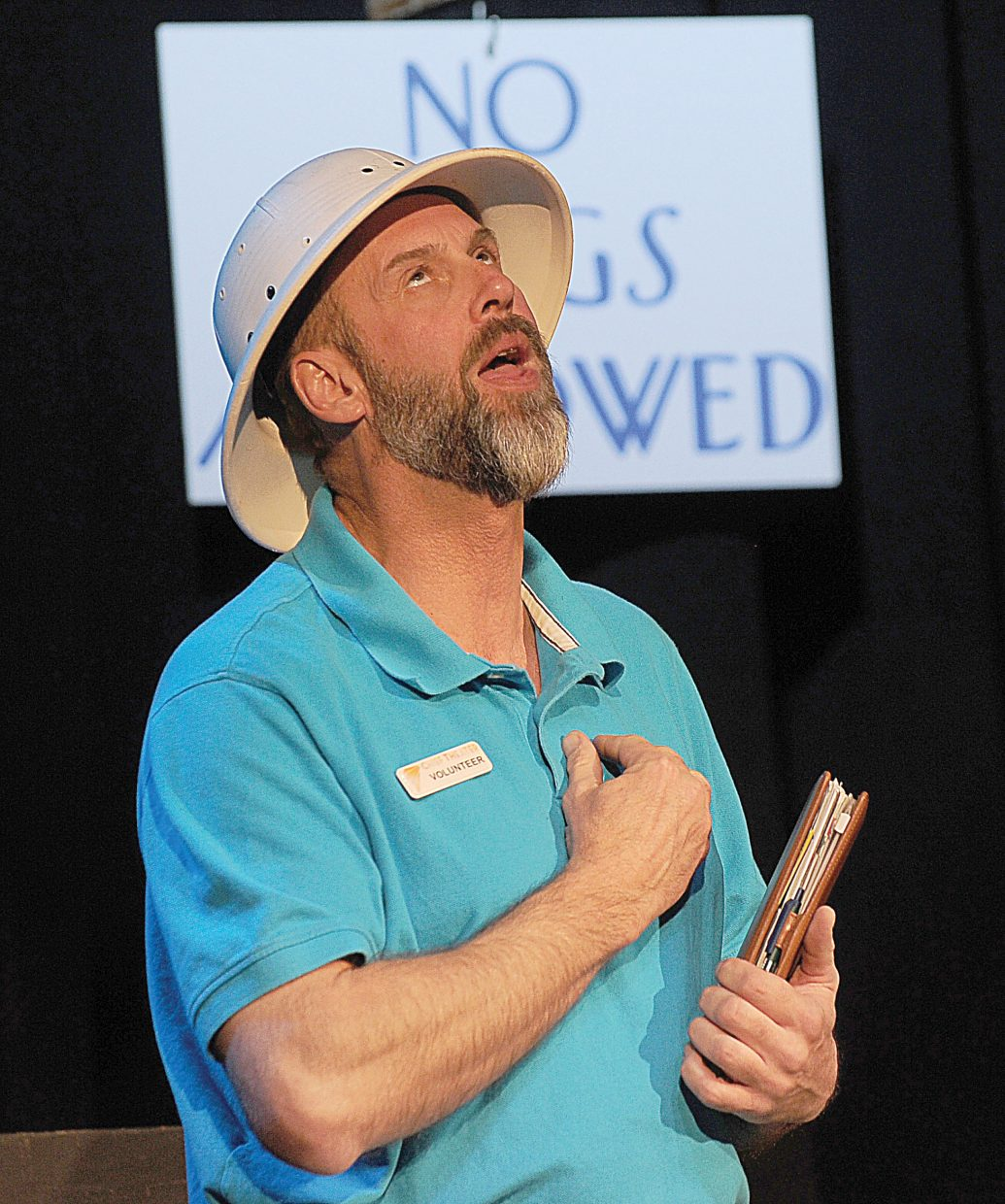 Chad McGown plays the part of a resort employee while rehearsing a scene from Shel Shocked, which will be presented by the Chief Players starting at 8 p.m. this Friday.