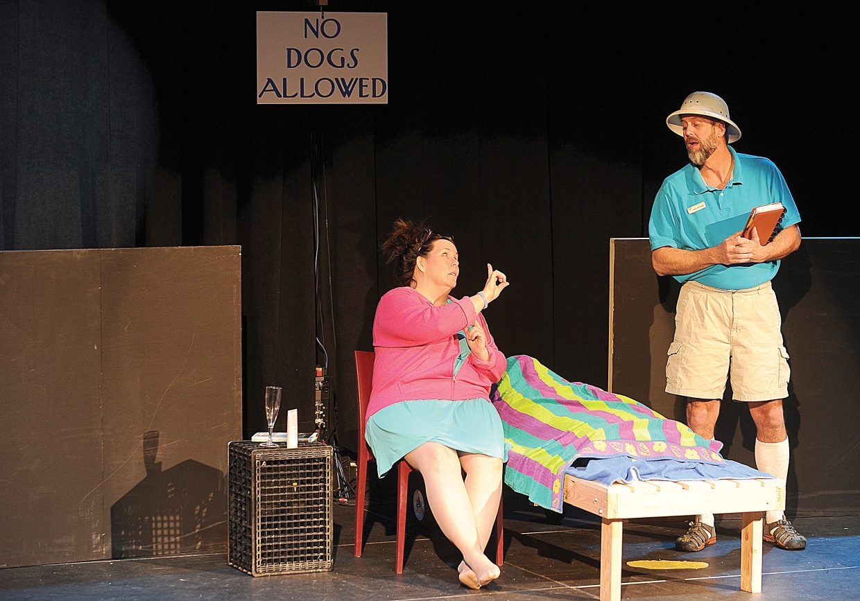 Katie Carroll and Kirk Aigner rehearse a scene from Shel Shocked, which will be presented by the Chief Players starting at 8 p.m. this Friday.