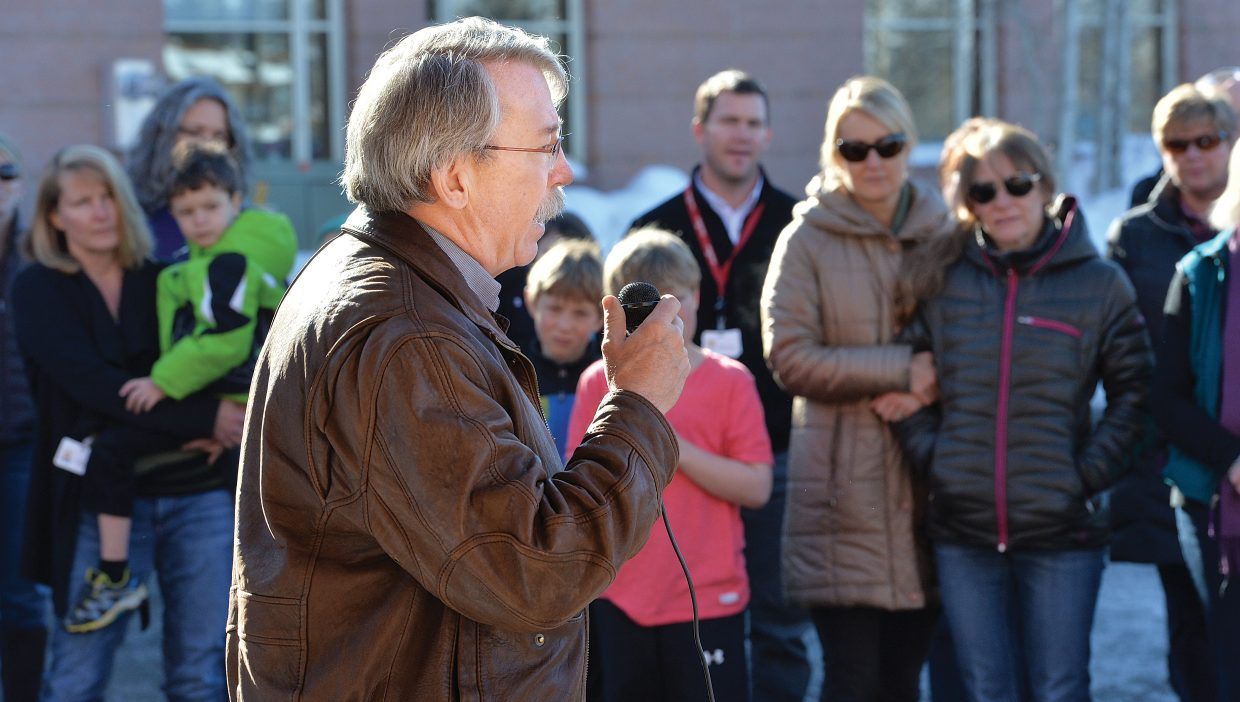 Bob Maddox, who was owner of Yampa Valley Air Ambulance, talks to a crowd gathered Friday to recognize the crew members of a flight that crashed near Rawlins, Wyoming, in January 2005.