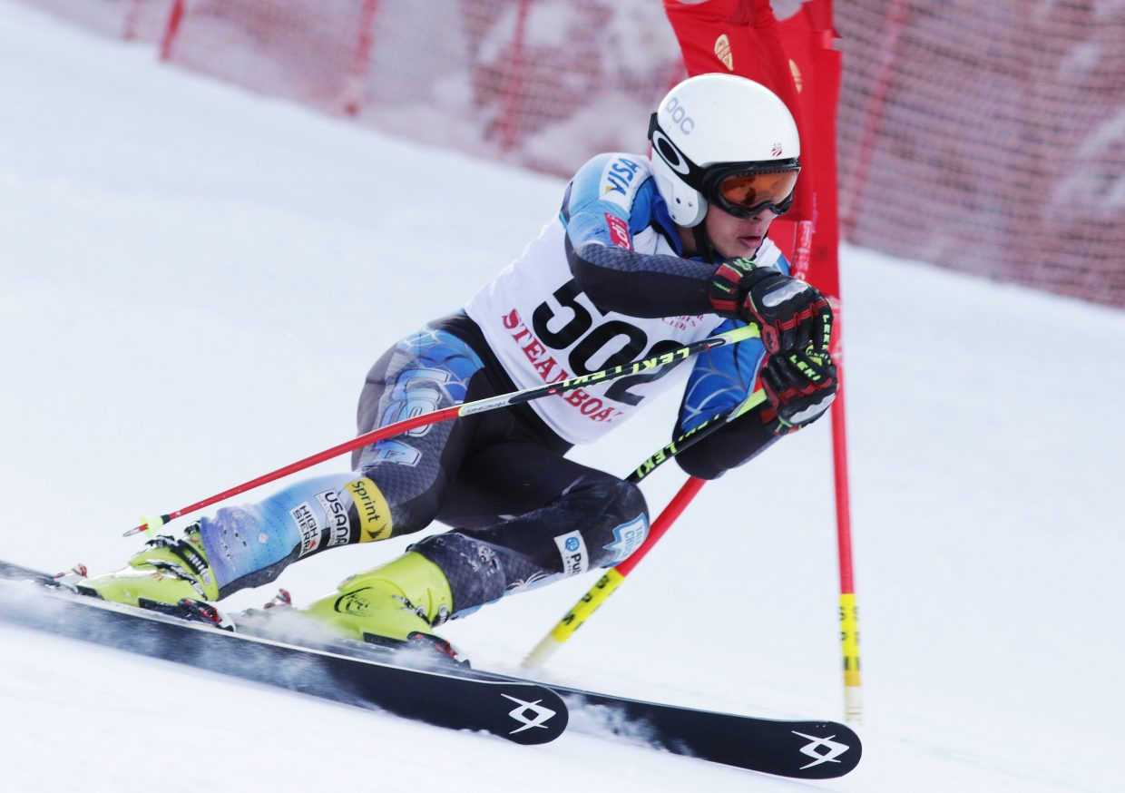 Steamboat Springs' Alexander Coffey races hard Friday in a high school giant slalom race at Copper Mountain. He finished fourth.