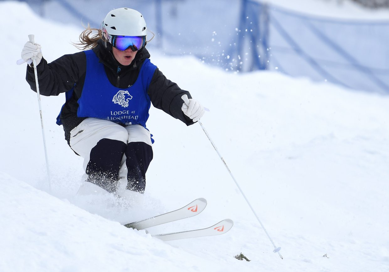 Steamboat's Olivia Giaccio flies down the Voodoo moguls course Saturday during a Rocky Mountain Division moguls event at Steamboat Ski Area. Giaccio won the event.