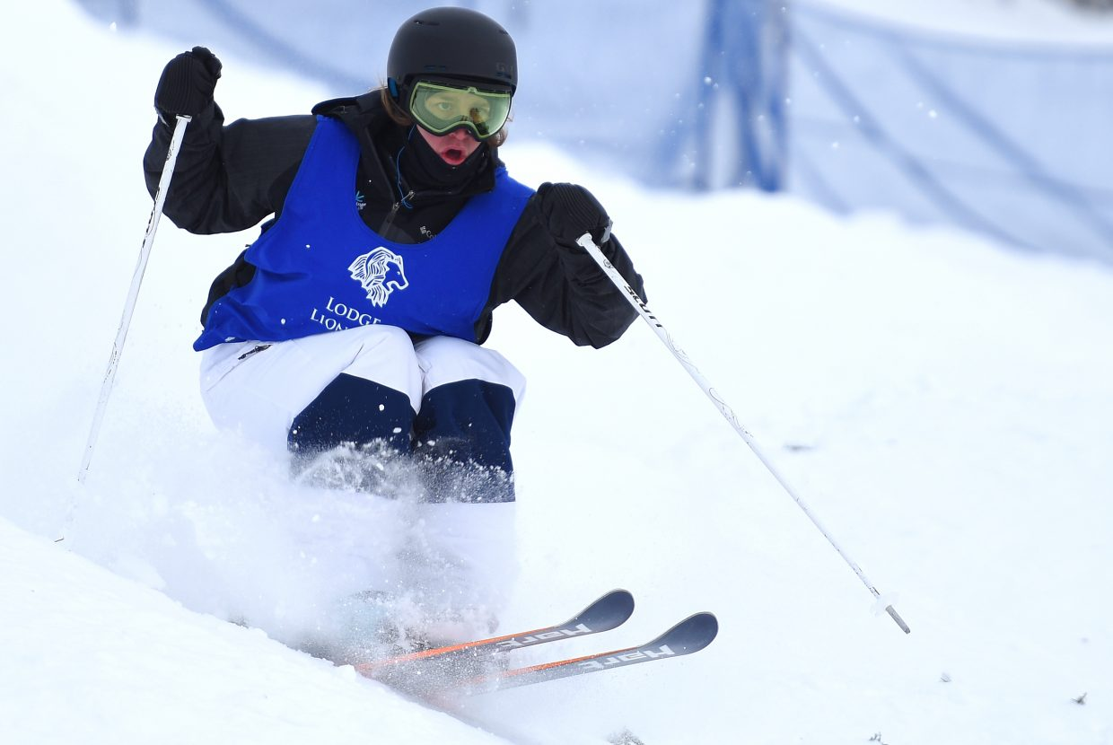 Steamboat Springs skier Avital Shimko races through the bumps Saturday at Steamboat Ski Area.