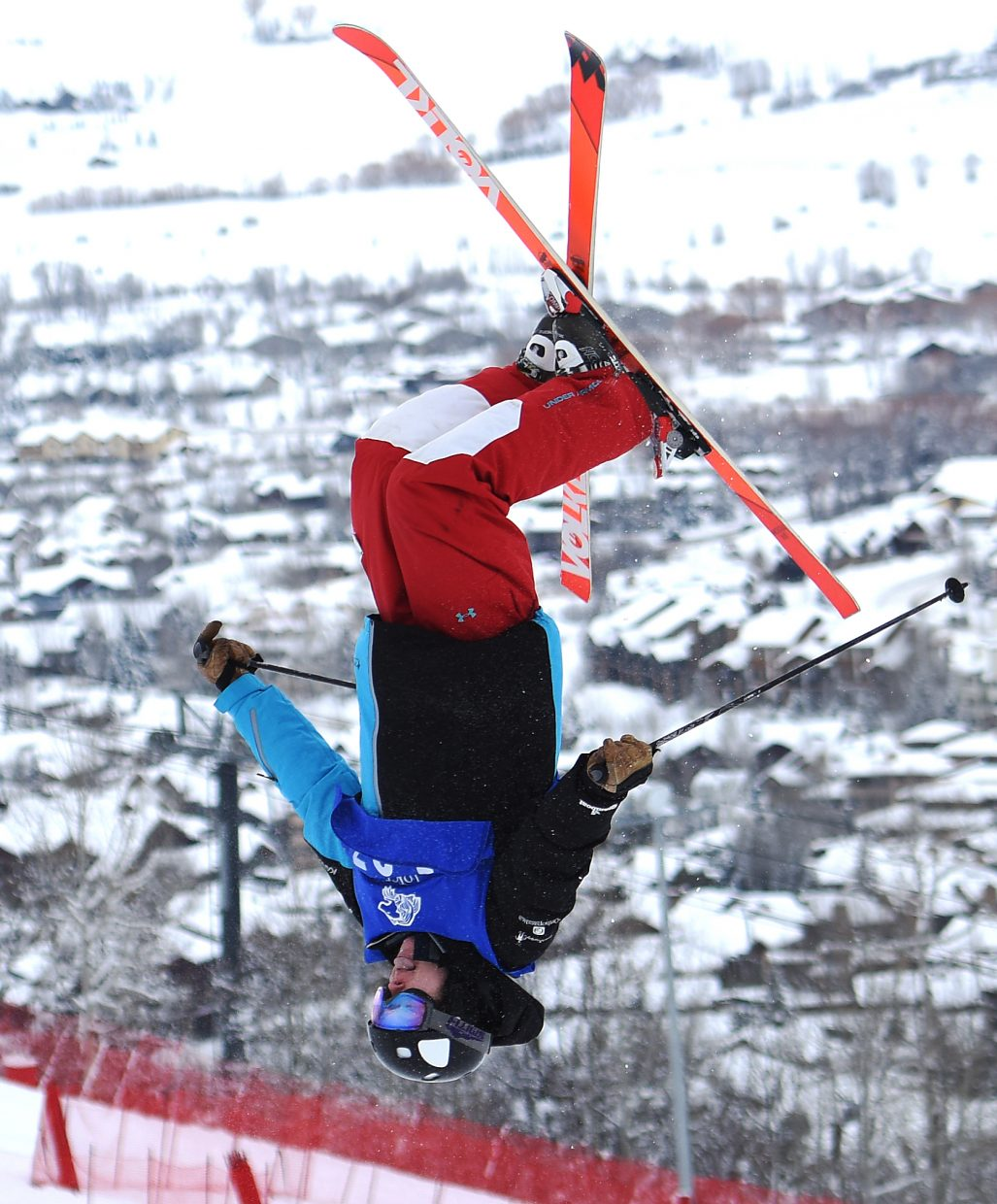 Steamboat's Zach Rosa flips upside down during a freestyle moguls event at Steamboat Ski Area. He placed eighth.