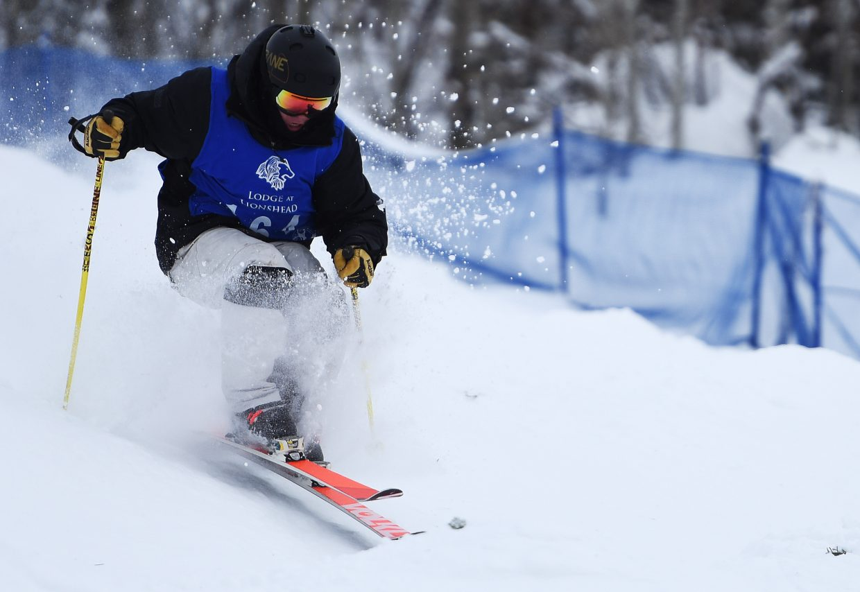 Steamboat's Tyler Strnad skis Saturday in a freestyle moguls event at Steamboat Ski Area.