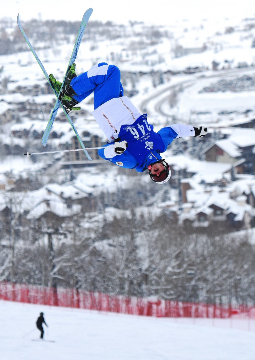 Russian moguls skier Andrey Makhnev flies high above Steamboat Springs on Saturday. The Russian team was in town for a training camp and wrapped it up with several big runs during a Rocky Mountain Division event at Steamboat Ski Area.
