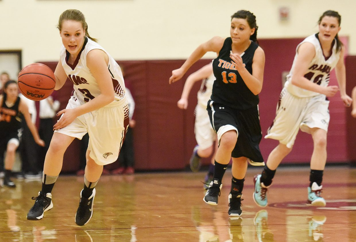 Soroco's Kali Constine charges down the court Friday.