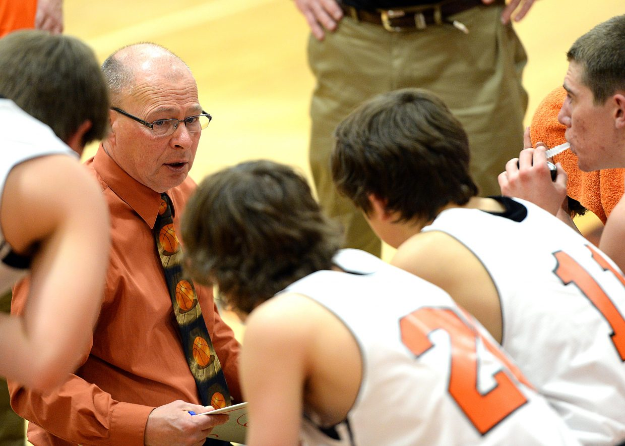 Hayden coach Mike Luppes talks with his team Friday during a game against West Grand.