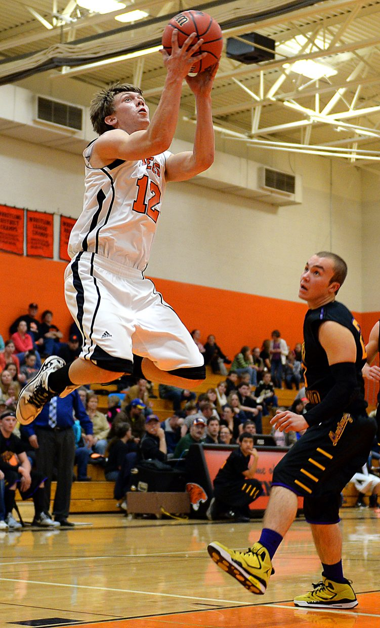 Dan Engle gets airborne for a shot Friday.