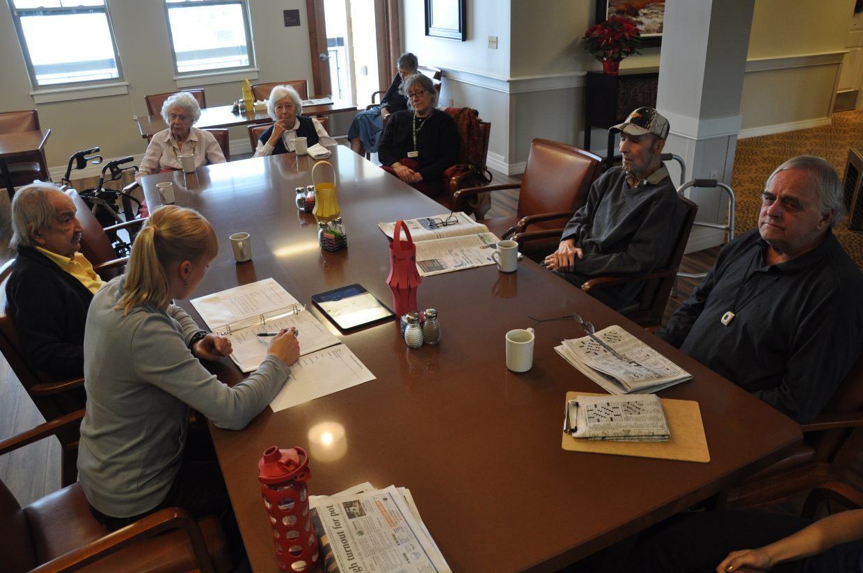 Casey's Pond Senior Living residents partake in a residents' council meeting on Thursday. The senior living center has launched a new S.A.F.E. Harbor program that allows loved ones to temporarily be cared for at the center.