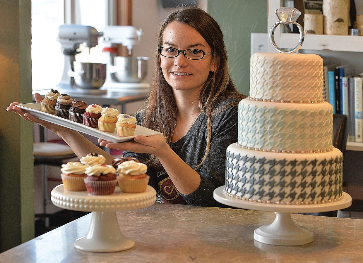 Cupcake Mini Bar owner Cassie Piper shows off her latest creations. Piper and Lindsey Grannis, designer and owner of One Fine Day, have formed a partnership at the downtown Steamboat Springs business with delicious results. Piper creates cupcakes and wedding cakes for local couples hoping to plan the perfect wedding.
