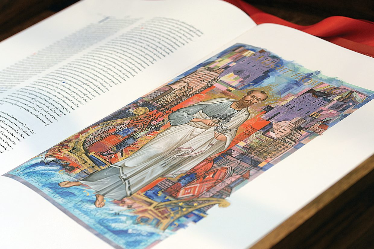 The St. John's Bible is full of elaborate and amazing images. The Holy Name Catholic Church in Steamboat Springs is hosting a volume of the Heritage Edition until November.