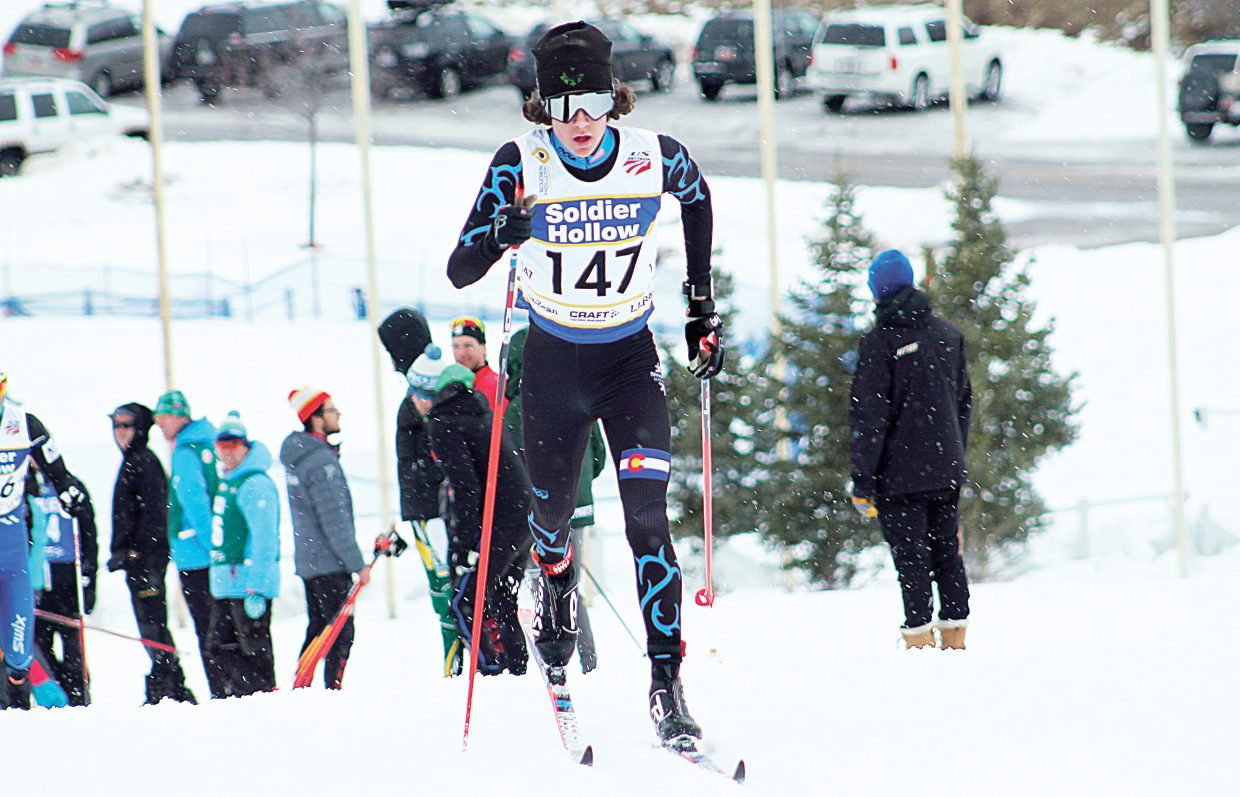 Wyatt Gebhardt races at the Soldier Hollow Olympic complex near Park City, Utah, during last week's National Cross Country Ski Championships.