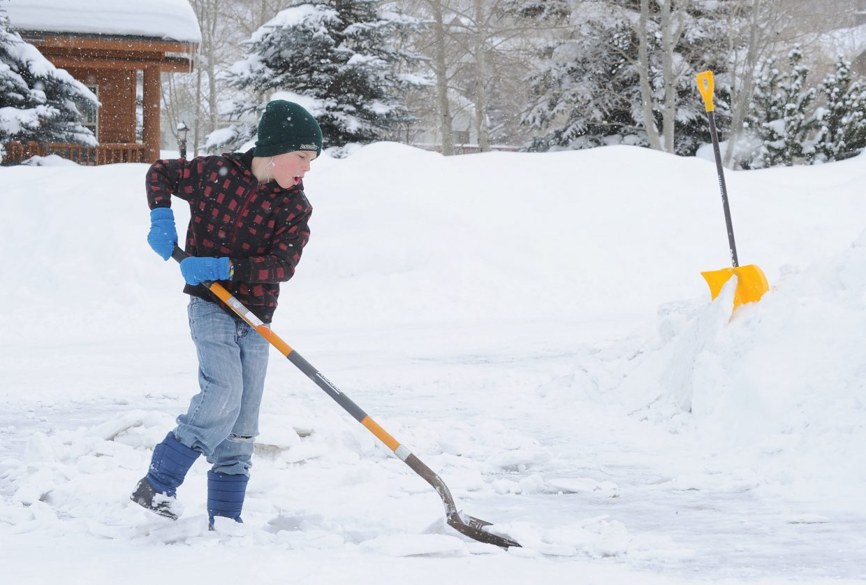 A lot of Steamboat Springs residents, including 10-year-old Marcus Magruder, were digging out Monday after a series of winter storms left a mark on Routt County over the weekend. Steamboat has already received 52.25 inches of snow from the latest storms, adding to the large amount of snow that has already fallen since the start of the winter.