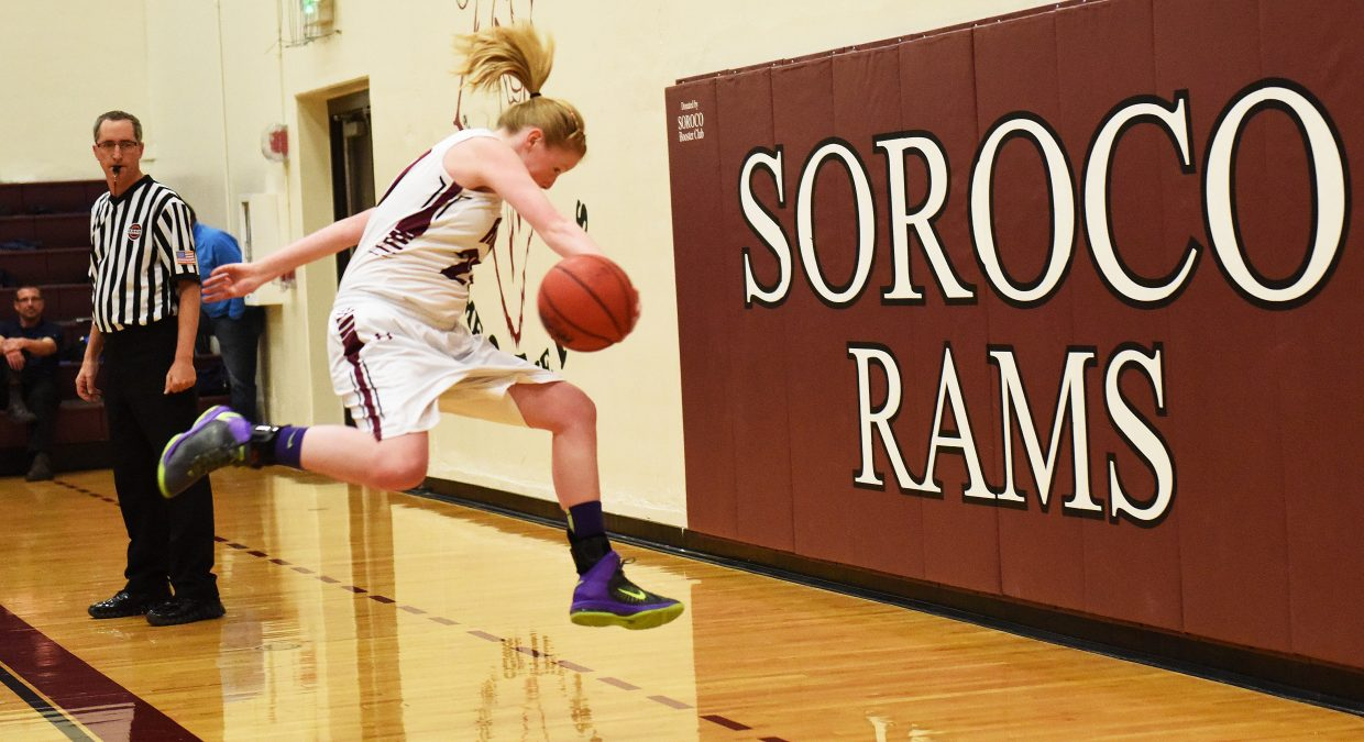 Soroco's Leah Walorski dives to save a loose ball Tuesday against Vail Christian.