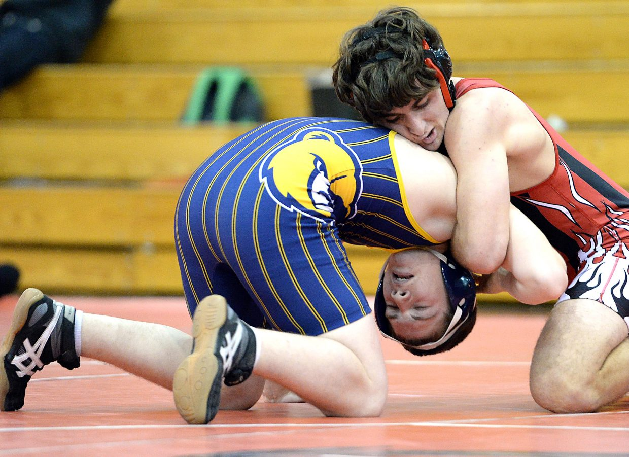 Steamboat Springs' Dylan Wallace wrestles Tuesday against Rifle. The Sailors came close against both of their Tuesday opponents, Rifle and Palisade, but couldn't pull out wins in the duals.