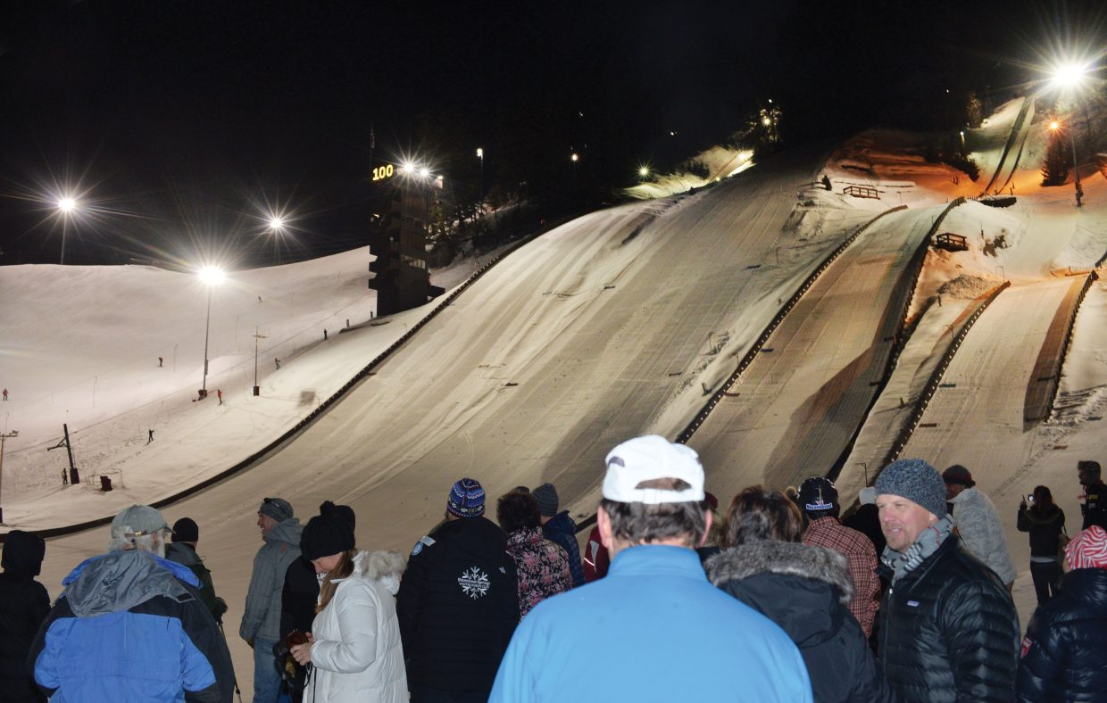 Lights displaying 100 now illuminate the jump tower at Howelsen Hill after Wednesday evening's ceremony recognizing the Howelsen Hill Ski Area. This year the ski area, the oldest operating ski area west of the Mississippi, turns 100 years old.