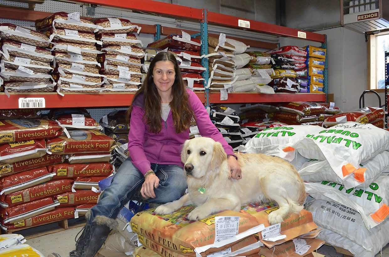 Ali Kovach has a large selection of Ranchway livestock feed as well as hardware, horse tack and other farm and ranch supplies at the new Steamboat location of Flat Tops Ranch Supply.