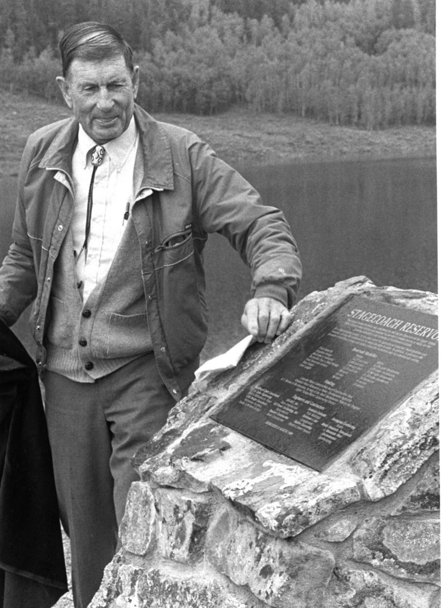 John Fetcher at the dedication of Stagecoach dam in August 1989.