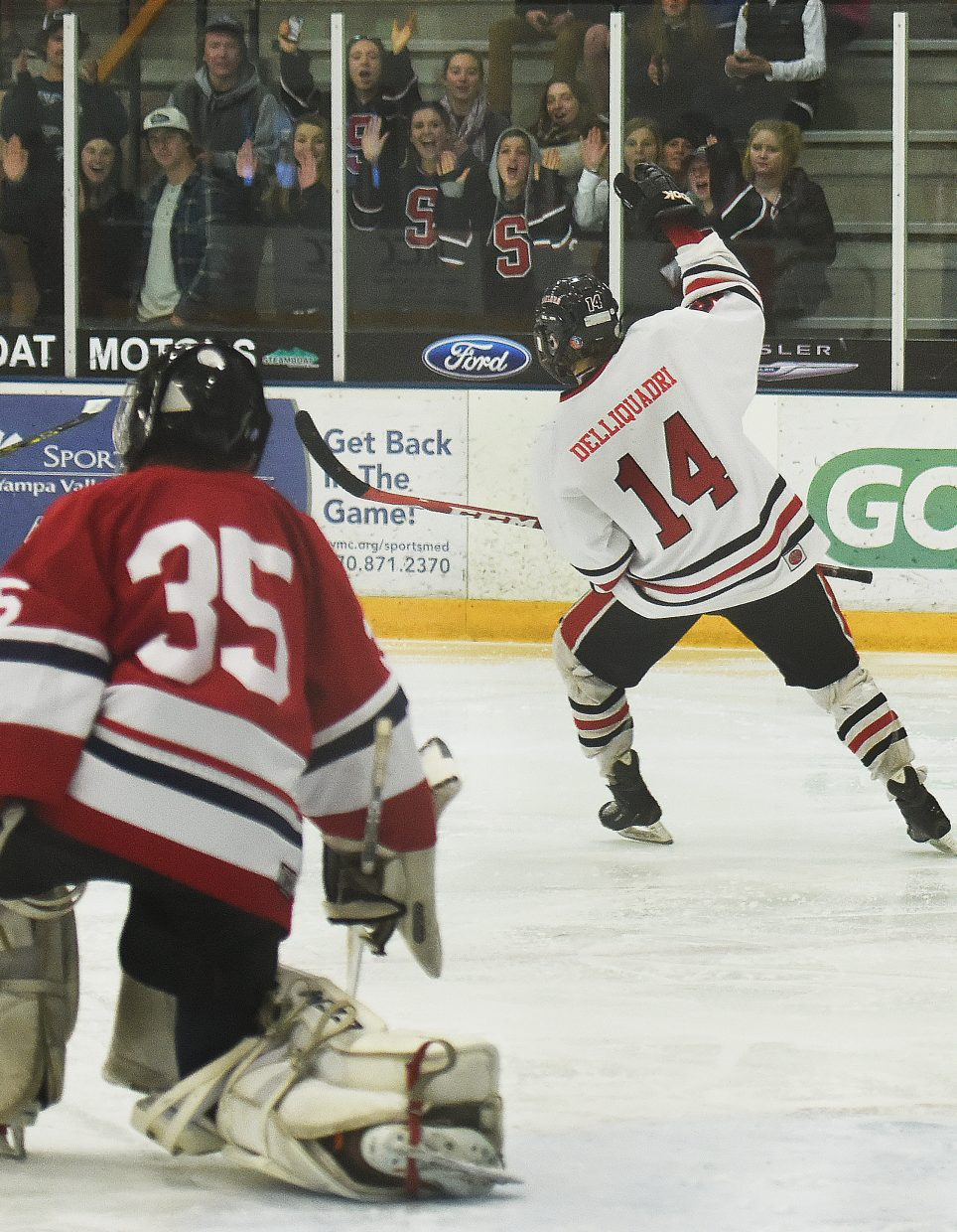Steamboat's Cisco DelliQuadri pumps his fist as the home fans cheer on Saturday after he scored a shorthanded goal against in a 10-2 win against Liberty.