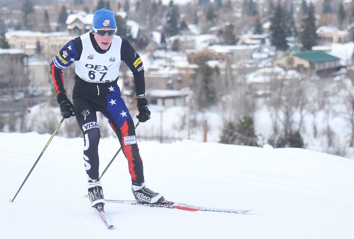 Steamboat Springs Winter Sports Club skier Elijah Vargas powers his way up the trail on Emerald Mountain on Saturday during a Nordic combined race in Steamboat. Vargas finished second in the race, holding off his older brother, Koby Vargas for the second time in four races this season.