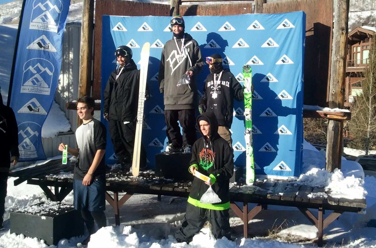Steamboat's Lennon Vaughan stands atop the podium in Vail after winning a pair of half-pipe competitions Saturday.