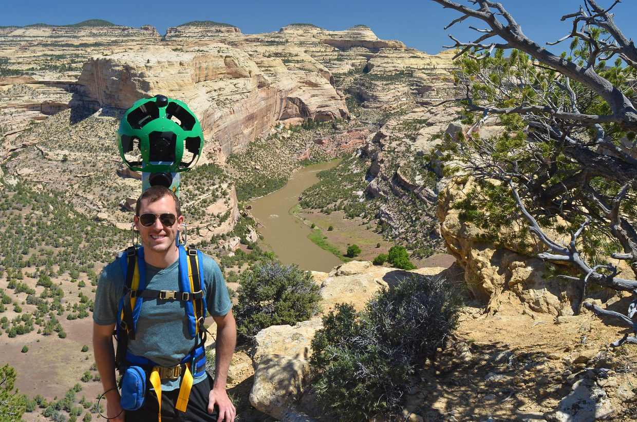 Devin Dotson of American Rivers wore the Google Street View trekker camera on a hike up Bull Canyon to an overlook of the Yampa River in Dinosaur National Monument during a collaborative effort among his organization, O.A.R.S. rafting company and Friends of the Yampa to create a virtual trip down a rugged stretch of the Yampa and Green rivers in Dinosaur National Monument.