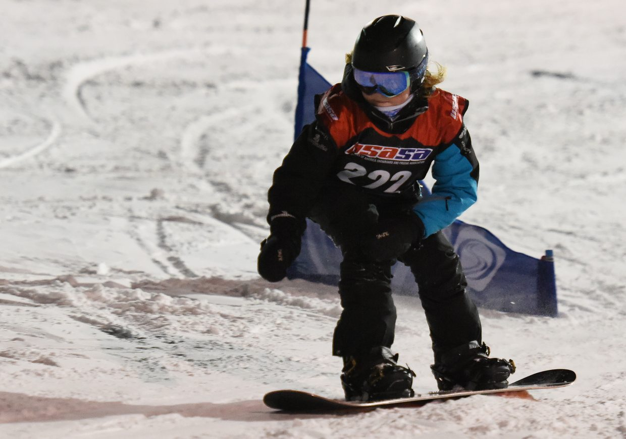 Sophie Scheel sets her eyes on the finish line at a USASA alpine snowboard race at Howelsen Hill in Steamboat Springs.