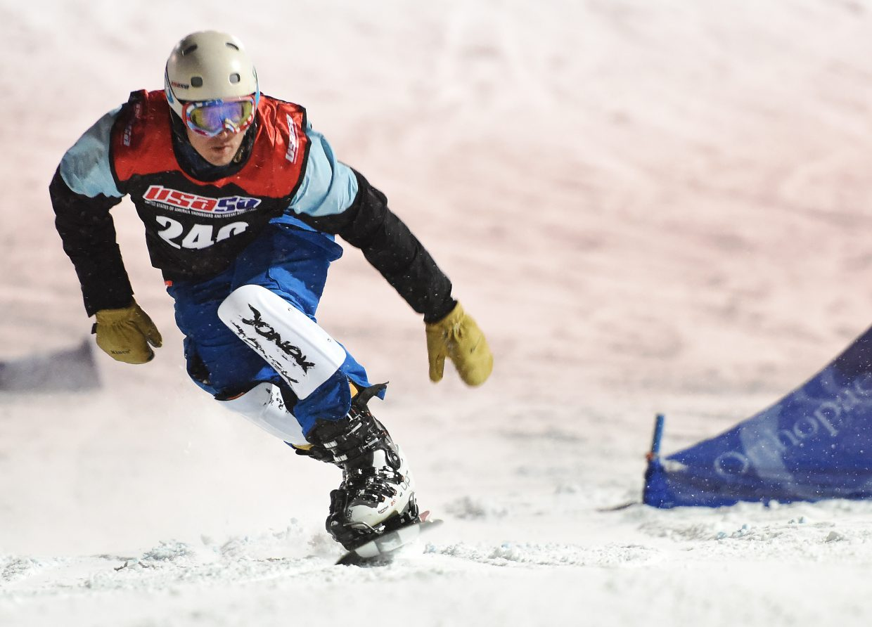 Steamboat Springs rider Everett McEwan leans toward the finish line Friday at a USASA event at Howelsen Hill.