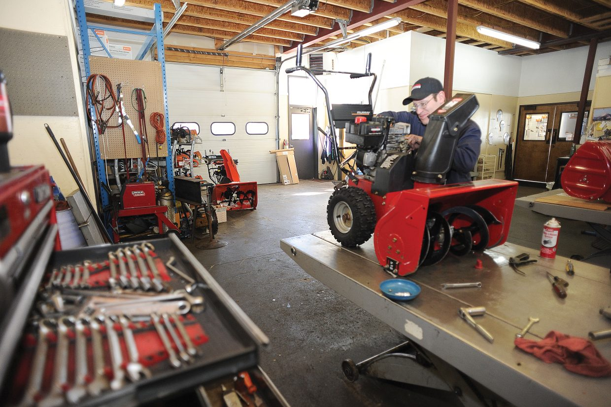 Justin Haynes has worked with Jim Pavlik at Precision Sharpening and Repair Service for years. The pair is responsible for keeping hundreds of snowblowers and lawnmowers running in Steamboat Springs and Routt County.