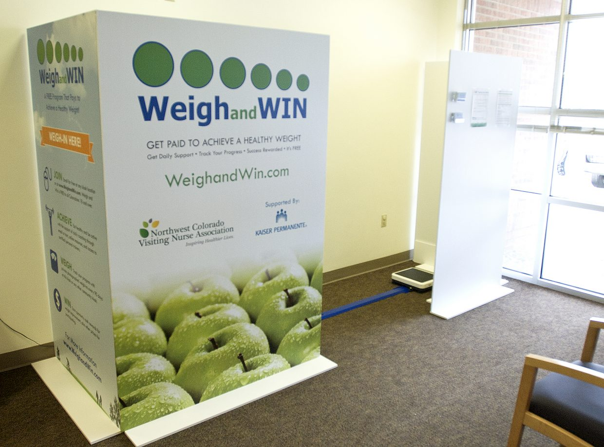 Weigh and Win, a free community weight loss program, installed a kiosk in the lobby of the Northwest Colorado Visiting Nurse Association in Craig on Tuesday. The program offers cash incentives for losing weight as well as daily coaching via text message or email with tips for weight loss, daily exercise and meal plans, weekly grocery shopping lists and more.