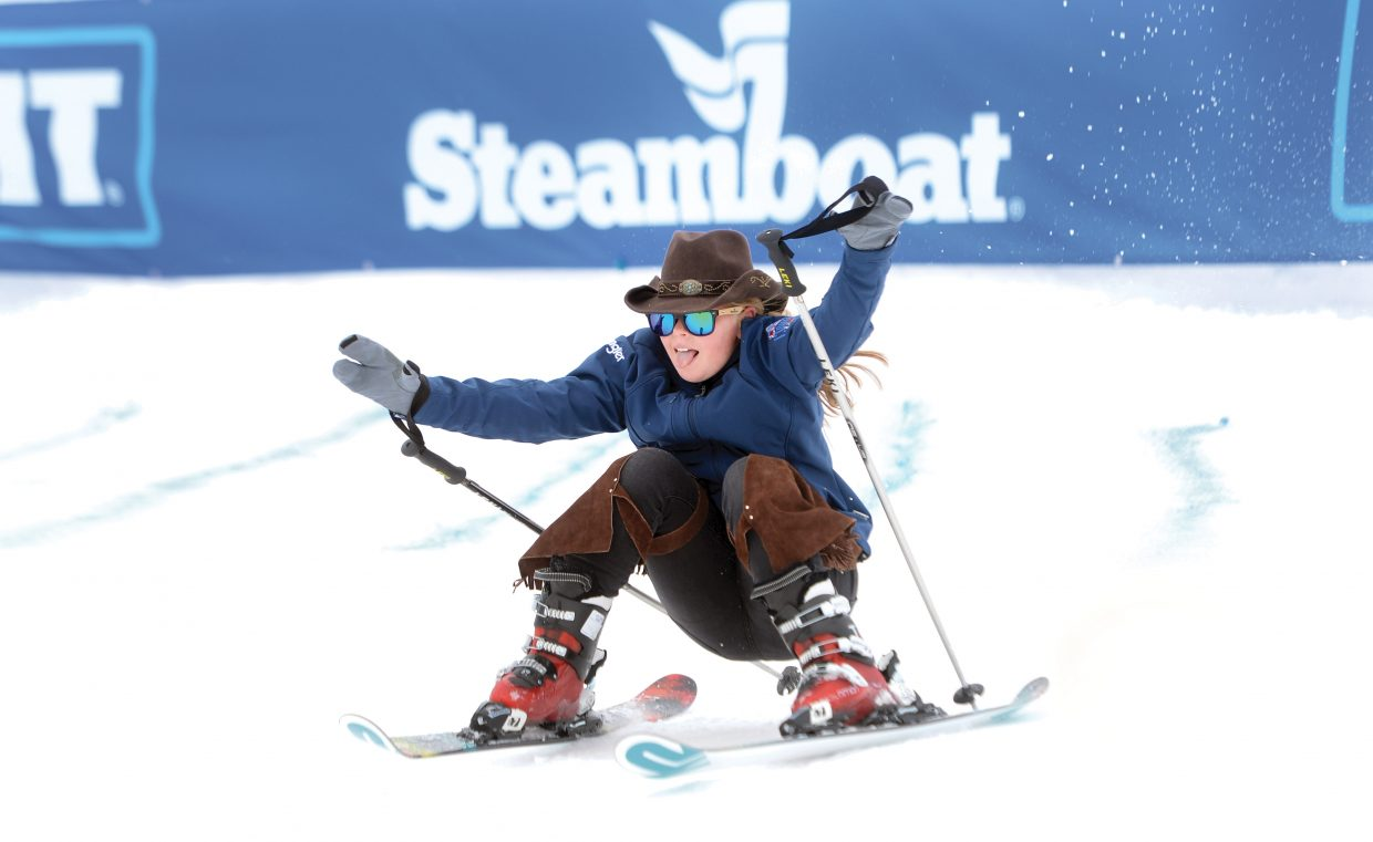 Imogene McMahon of Canberra, Australia, foreruns the course during the 43rd Bud Light Cowboy Downhill. Imogen and her sister Paris have taken on this course duty for the past four years.