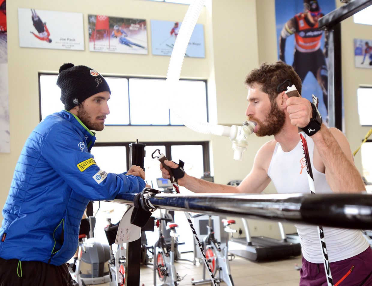 Bryan and Taylor Fletcher pause to chat during a workout in Park City, Utah.