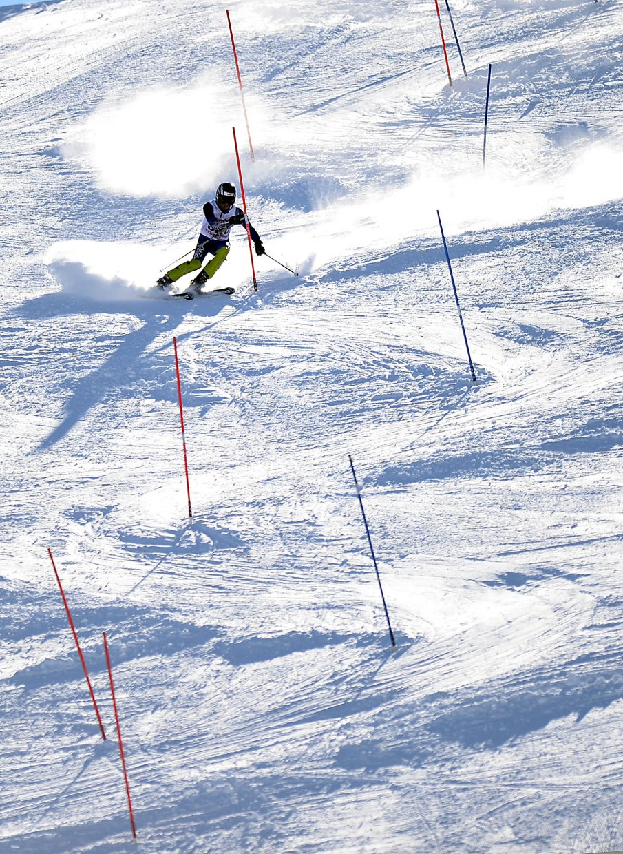 Aidan Gibbs skis Friday in a high school slalom event at Howelsen Hill in Steamboat Springs.
