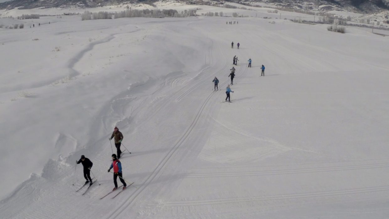 Some of the 200 attendees at the 2015 Ski for Parkinson's event glide through the snow at the Haymaker Nordic Center. The second annual event takes place Saturday.
